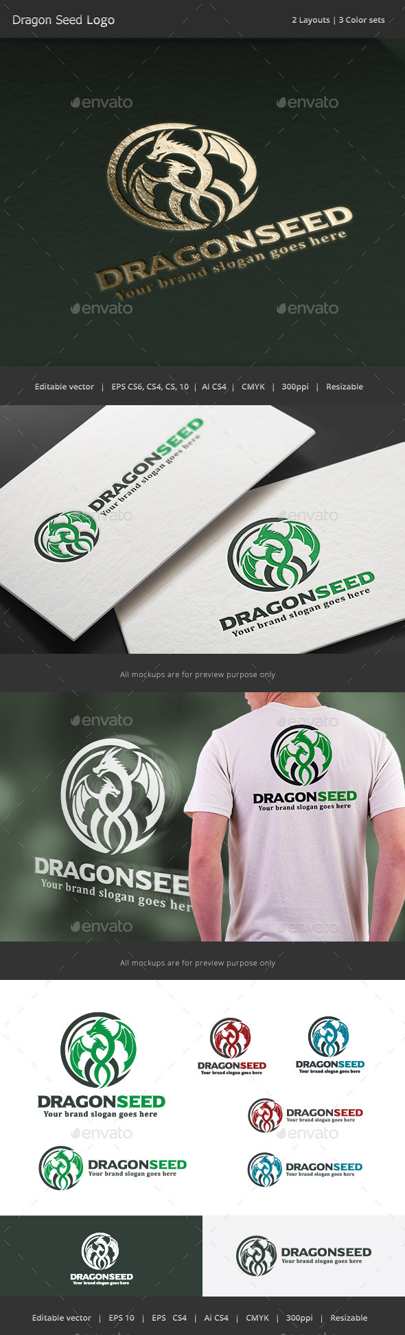 Dragon Seed Logo - Crests Logo Templates
