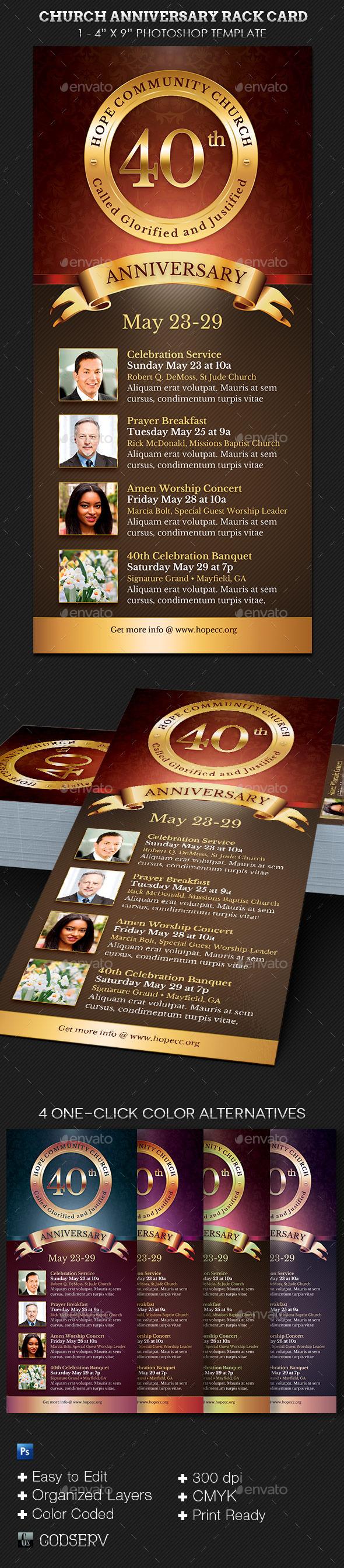 Church Anniversary Rack Card Template - Church Flyers