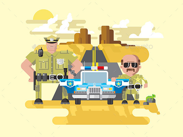 Texas Police Flat Style - People Characters
