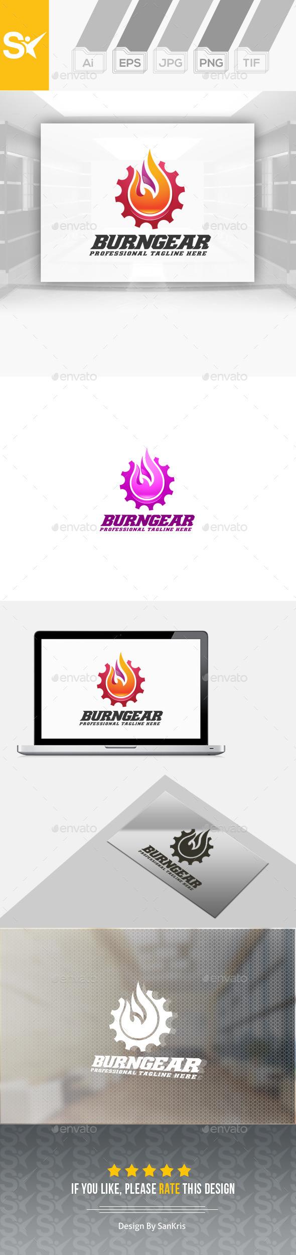 Burning Gear Logo - Symbols Logo Templates
