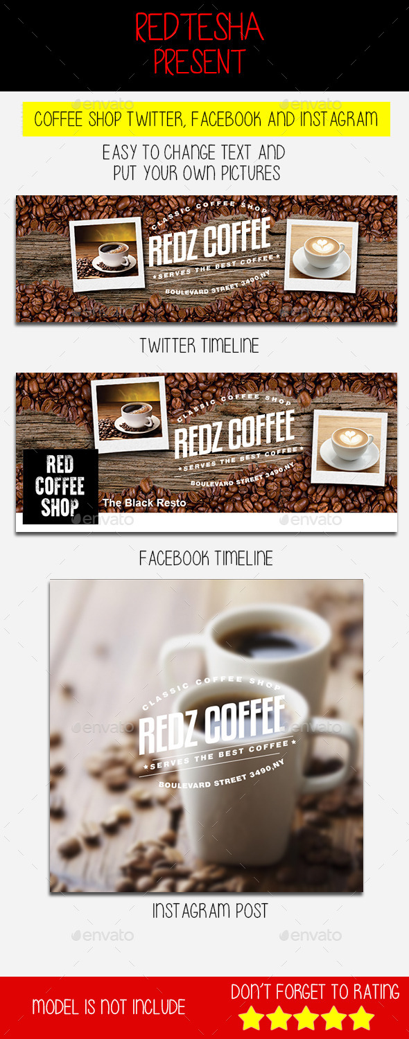 Coffee Shop Twitter Facebook and Instagram
