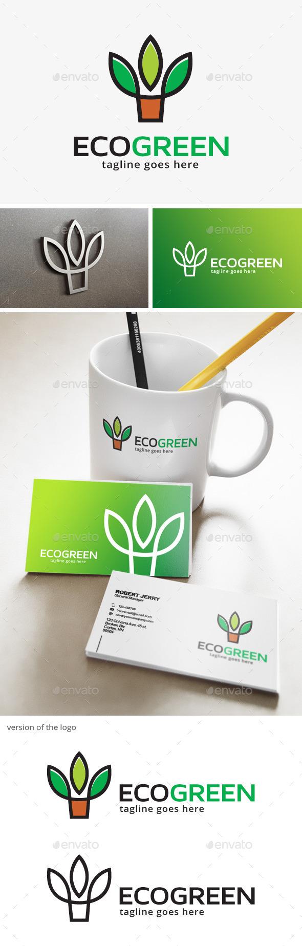 Eco Green Plant Logo - Nature Logo Templates