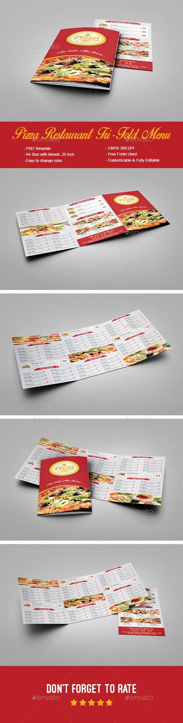 Pizza Restaurant Trifold Menu - Food Menus Print Templates