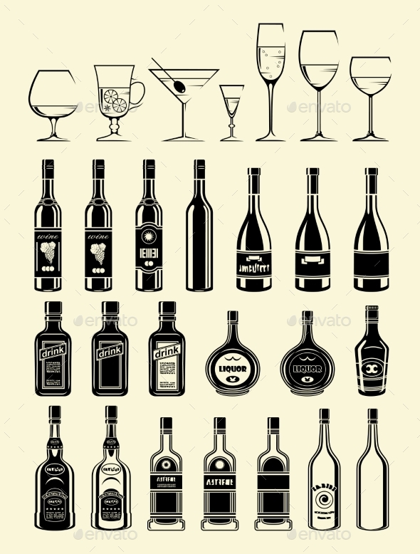 Black Drinks and Beverages Icons Set
