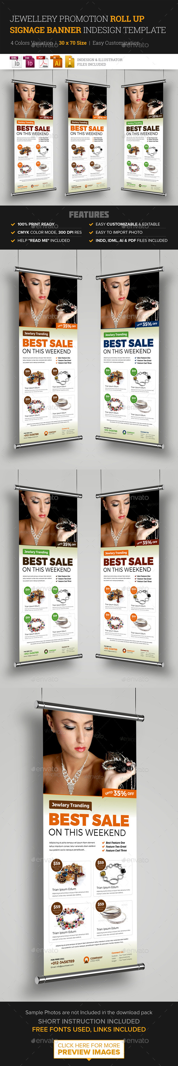 Jewellery Shop Roll Up Banner Signage InDesign - Signage Print Templates
