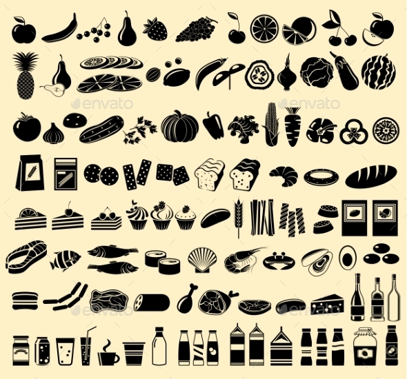 Black Vector Icons Of Products - Food Objects