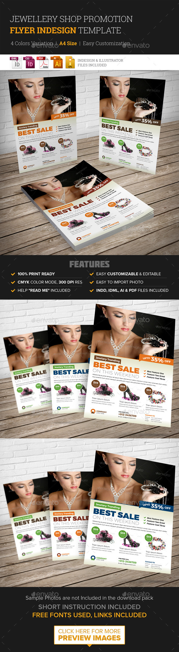 Jewellery Shop Promotion Flyer Indesign Template  - Corporate Flyers
