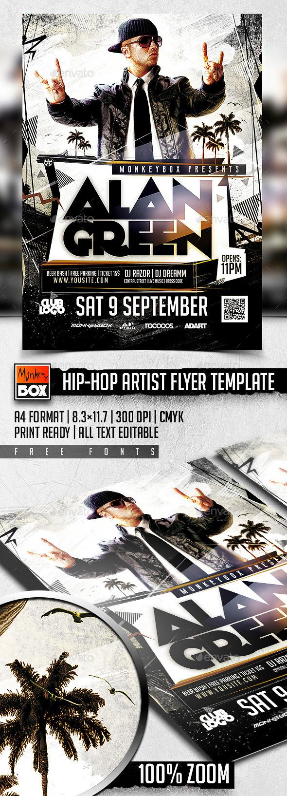 Hip-Hop Artist Flyer Template - Clubs & Parties Events
