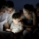 Big Family And Child With Pad Outdoor At Night - VideoHive Item for Sale