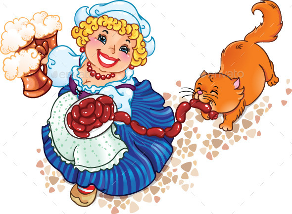 Oktoberfest Lady with Cat - Miscellaneous Seasons/Holidays