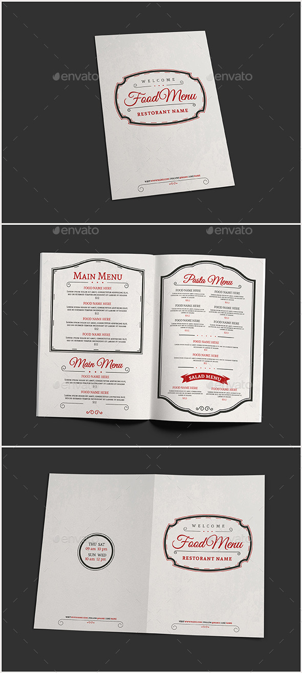 Elegant Food Menu III