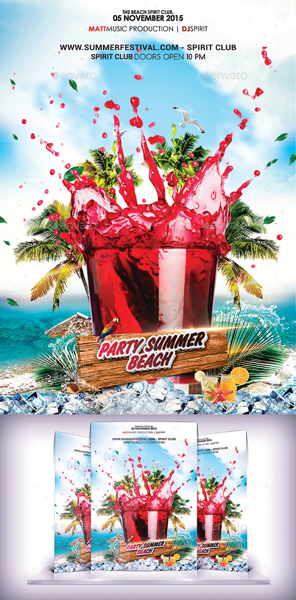 Summer Cocktail Party Flyer - Events Flyers