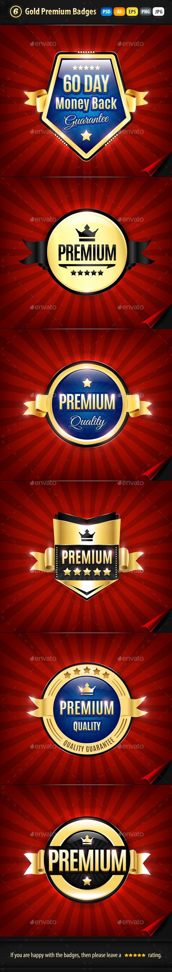 6 Gold Premium Quality Badges