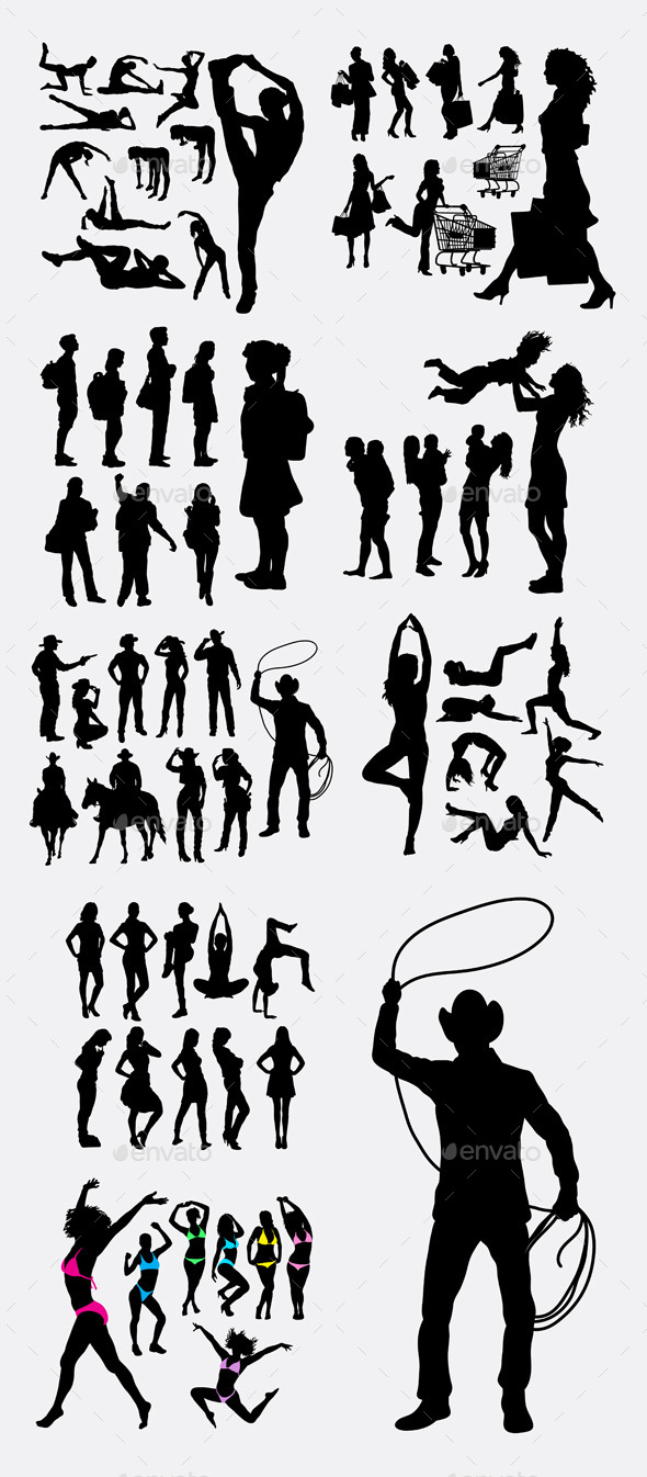 People Pose Silhouettes - People Characters