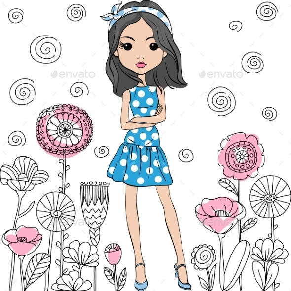 Vector Fashion Cute Happy Girl - Flowers & Plants Nature