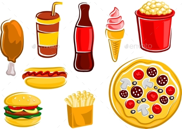 Cartoon Fast Food Drinks And Snacks - Food Objects