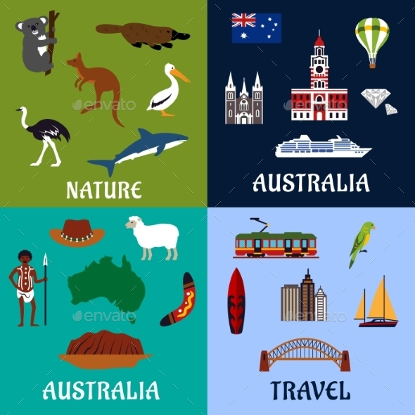 Australia Flat Travel Symbols And Icons