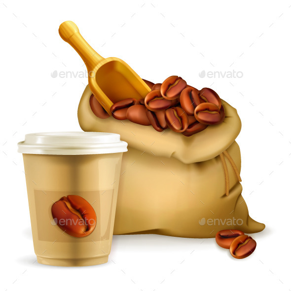 Coffee Paper Cup and Bag - Vectors