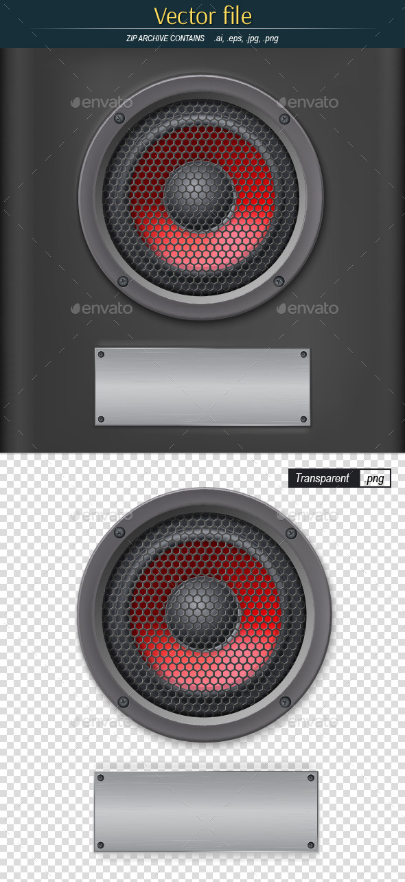 Speaker with Metal Mesh and Place for Your Text - Decorative Symbols Decorative