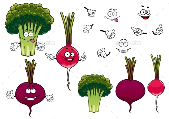 Broccoli, Radish And Beet Vegetables  - Food Objects
