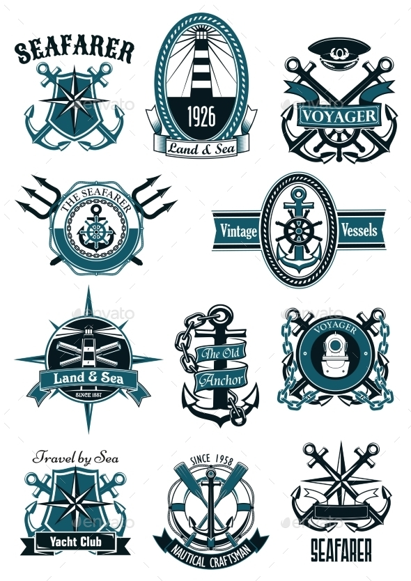 Vintage Nautical Badges With Marine Items