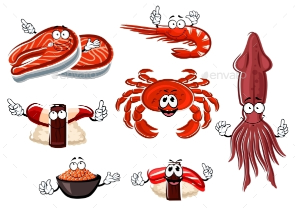 Cartoon Seafood And Animals Characters - Food Objects