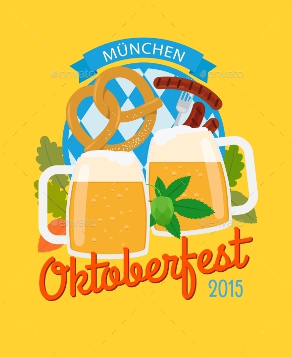 Beer Mug And Pretzel Oktoberfest Poster - Seasons/Holidays Conceptual