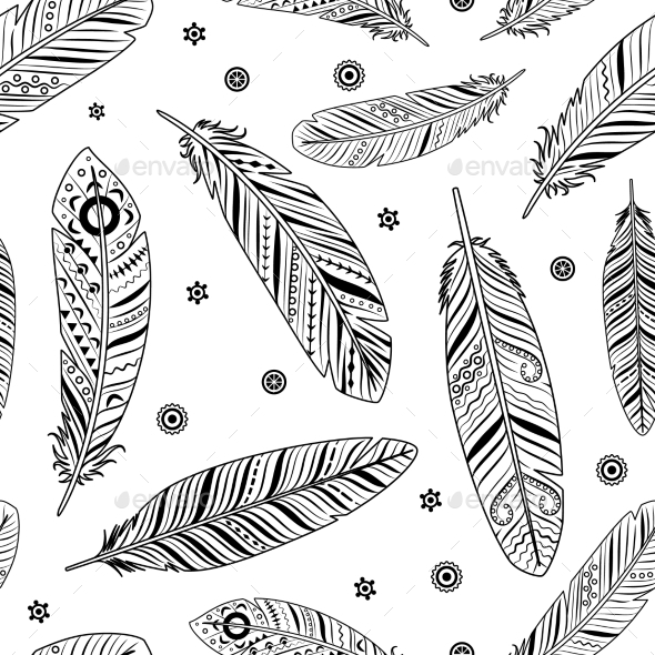 Vintage Feathers Pattern