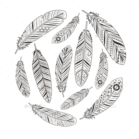 Ethnic Feather Silhouettes - Decorative Vectors