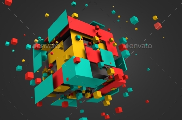 Abstract 3D Rendering Of Flying Cubes