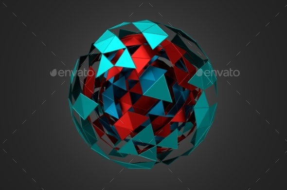 Low Poly Metal Sphere With Chaotic Structure. - Tech / Futuristic Backgrounds