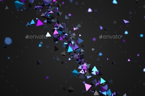 Abstract 3D Rendering Of Flying Particles. - Abstract 3D Renders