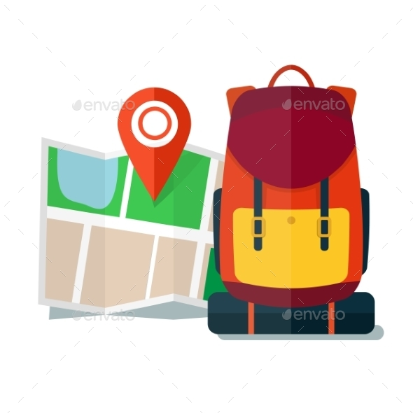 Travel Map With Backpack Flat Icons Tourist