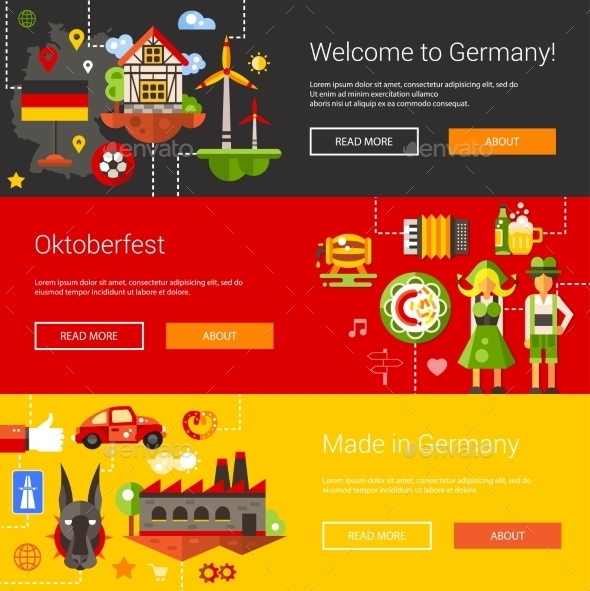 Set Of Flat Design Flyers, Headers With Germany - Travel Conceptual