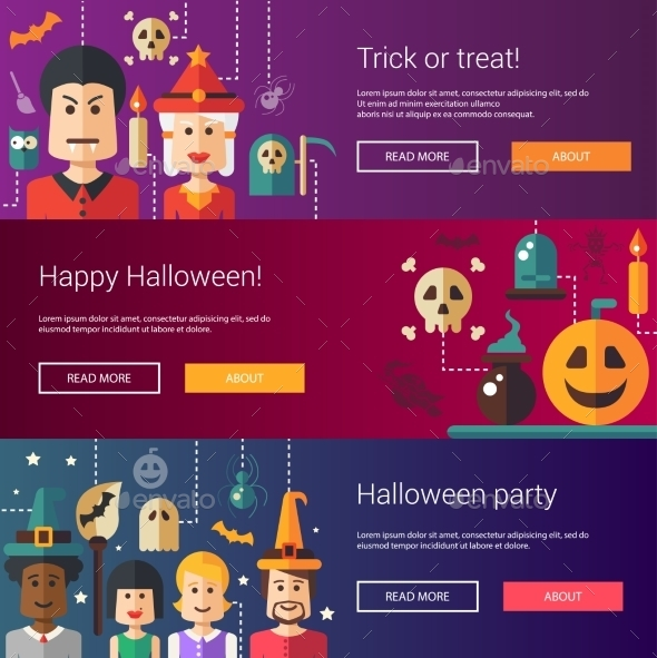 Set Of Halloween Flat Design Modern Illustrations - Halloween Seasons/Holidays