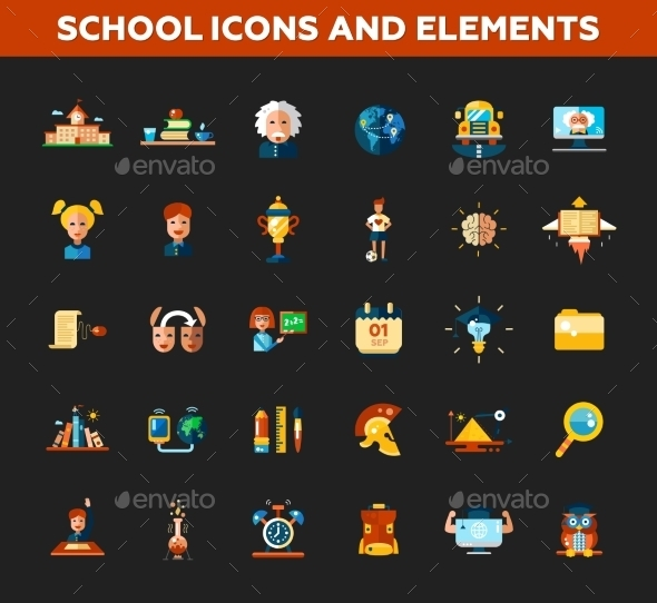 Set Of School, College Flat Design Icons - Objects Vectors