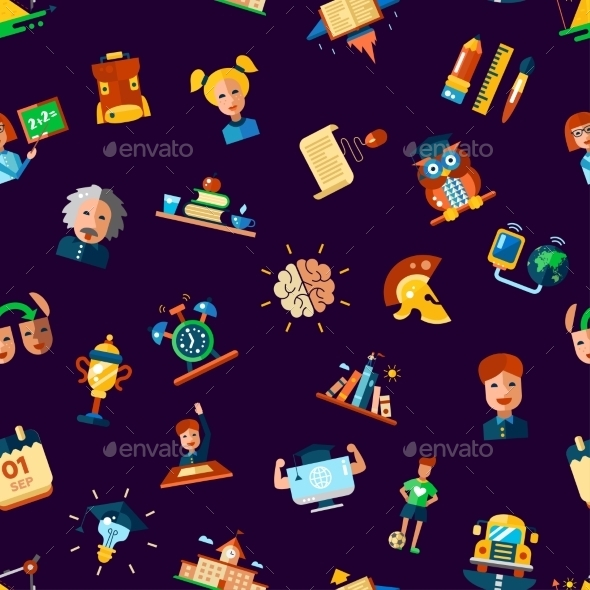 Pattern Of School, College Flat Design Icons - Patterns Decorative
