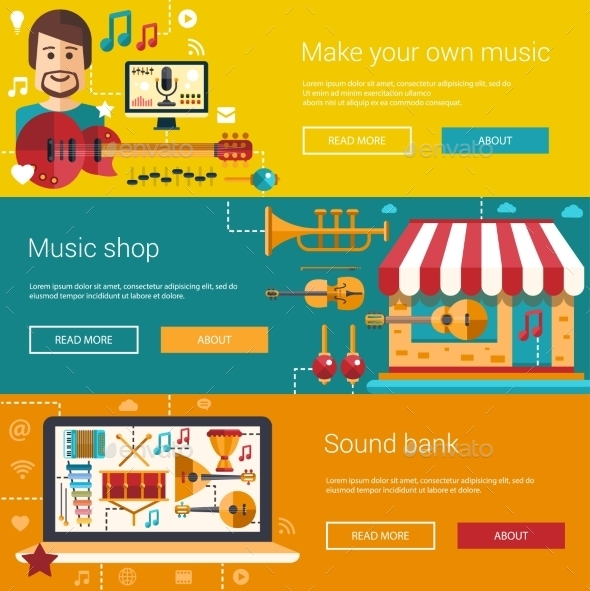 Set Of Music Flat Modern Illustrations Banners