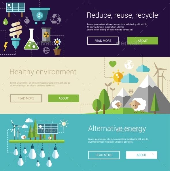 Set Of Ecological Flat Modern Illustrations - Nature Conceptual