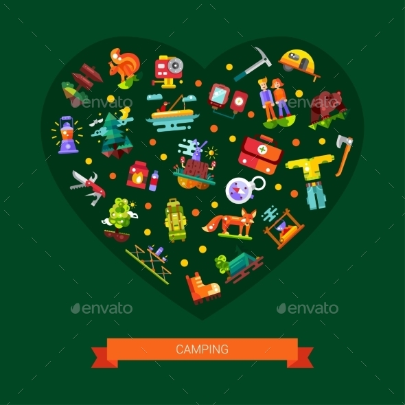 Camping, Hiking Flat Design Heart Composition - Travel Conceptual