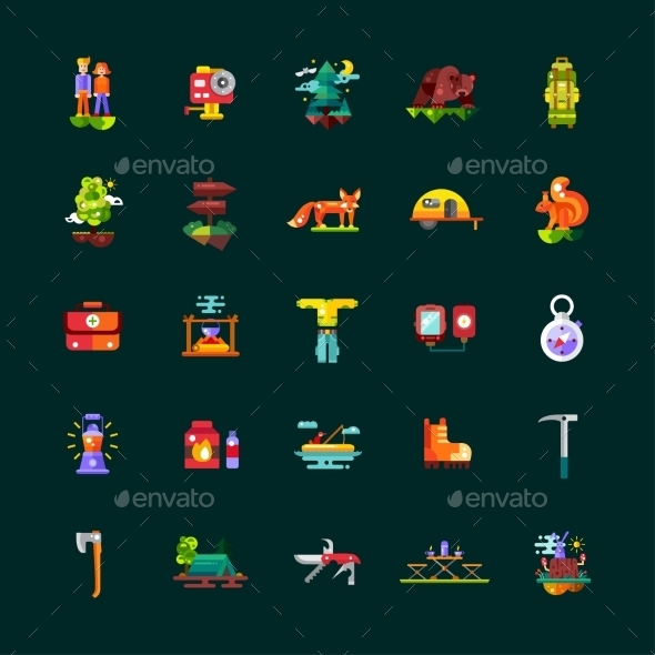 Camping, Hiking Flat Design Icons Set - Travel Conceptual