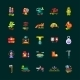 Camping, Hiking Flat Design Icons Set - GraphicRiver Item for Sale