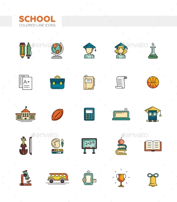 Set Of School, College Line Flat Design Icons - Miscellaneous Vectors