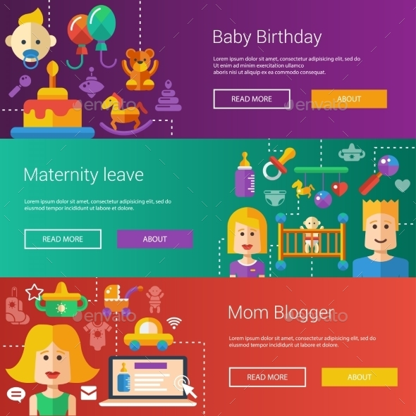Set Of Baby, Motherhood Flat Modern Illustrations - People Characters