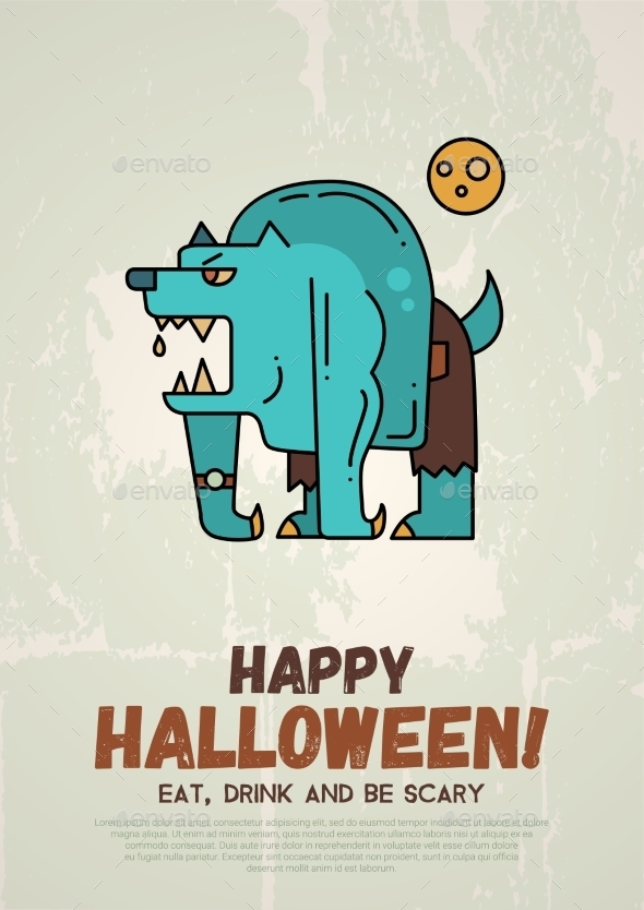 Halloween Line Flat Design Modern Poster - Halloween Seasons/Holidays