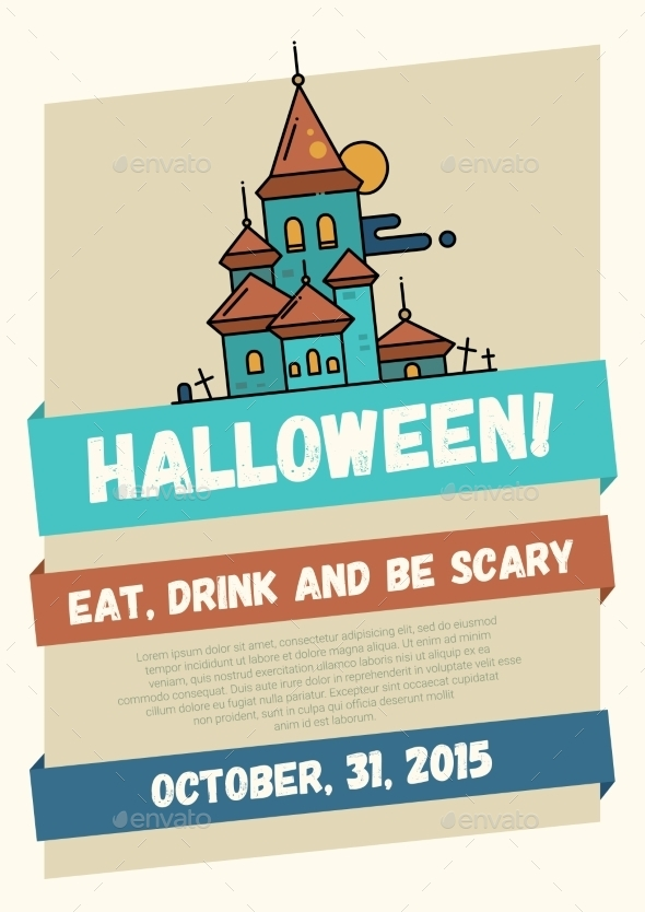Halloween Line Flat Design Modern Poster