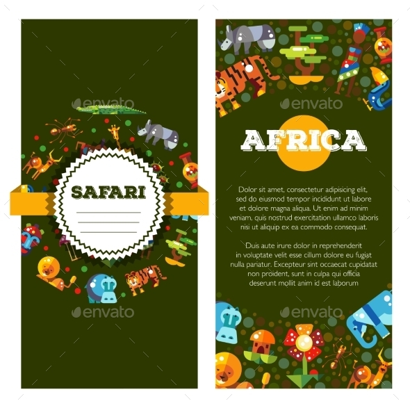 Postcard With Flat Design African Icons - Animals Characters