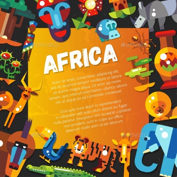 Postcard Of Flat Design African Icons - Animals Characters