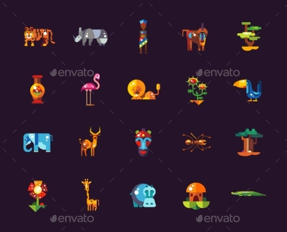 Set Of Flat Design African Icons And Infographics - Animals Characters