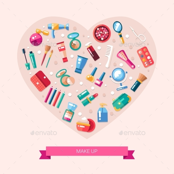 Flat Design Cosmetics, Make Up Heart Composition - Miscellaneous Vectors